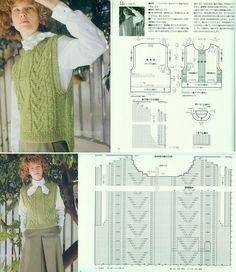 Free Aran Knitting Patterns, Knit Patterns, Free Knitting, Knit Crochet, Crochet Hats, Vest Outfits, Knit Vest, Vintage Knitting, Lace Tops