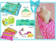 DIY: Ruffled Blanket, Baby Bibs Hooded Towel, Diaper Bag, Changing Pad, Burp Cloths and Binky Leash!