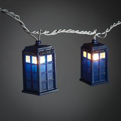 Doctor-Who-TARDIS-String-Lights - There are 10 lights to a 9-foot-long string and it even comes with 4 replacement bulbs! Not to mention it's an officially licensed Doctor Who collectible – so you can actually call it a TARDIS.  Why would anyone get fairy lights when you can have TARDIS lights?!  [$19.99 from ThinkGeek | Via Geek Alerts]  Read more at http://www.geeksaresexy.net/2012/09/25/tardises-to-light-your-way-pic/#saPkXczfauYLjE1k.99