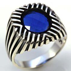 925 sterling silver menTurkish handmade blue stones by silversez