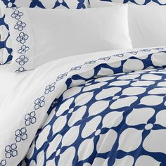 Jonathan Adler Navy Hollywood Duvet Cover in Navy Printed Hollywood