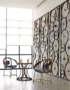 Urban loft space with roller shades. Inspired by bicycles.