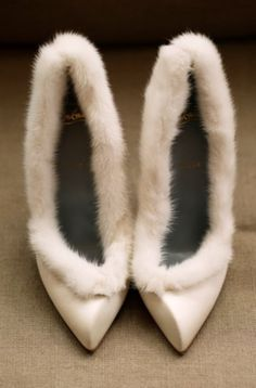Handmade white fur trim ankle boots winter bare heels wedding shoes ...