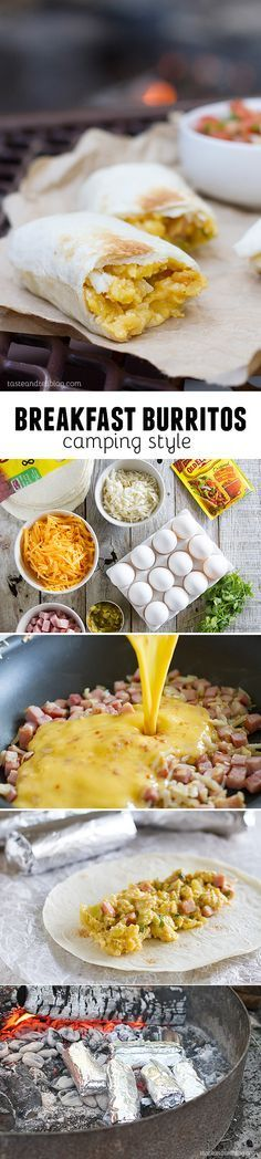 Breakfast Burritos - Campfire Style : Make ahead breakfast burritos perfect for campfire cooking. Or great for make ahead to reheat at home in the morning!