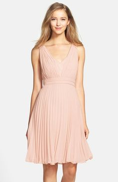 Free shipping and returns on Donna Morgan 'Greta' Pleat Chiffon Dress at Nordstrom.com. A deep V-neckline and a ruched bodice heighten the feminine charm of this pretty chiffon dress styled with a fully pleated A-line skirt.