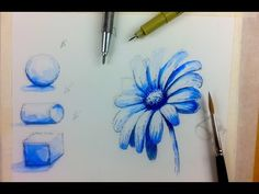 Beginner Watercolor Value Exercise   How to Paint Monochromatic Flowers - YouTube