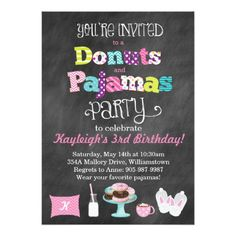 Donut Birthday Party Donuts and Pajamas Chalkboard Style Invitation