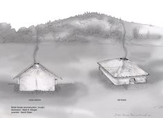 """Botai houses. """"They didn't use logs at all, but rather built up the walls of their square houses with adobe."""""""