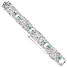 Estate Cartier Art Deco Diamond & Emerald Panel Bracelet