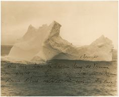 This is a photo of the iceberg that sunk the Titanic. It was shot by the captain of a steamer ship two days before the Titanic came by the same spot.