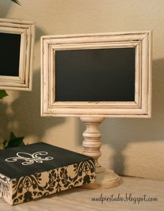 Chalkboard Pedestal Frame  Doublesided by themudpiestudio on Etsy, $25.00