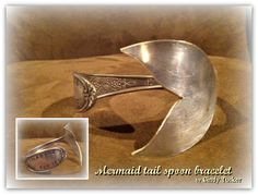 """I used my trusty dremel again to make this vintage serving spoon into a mermaid tail bracelet. I stamped the pretty handle with """"dreaming of the sea""""."""
