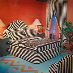 """from a promotional record for utica fine arts' """"adobe stripe"""" sheets and towels, 1976 Home Interior, Interior Architecture, Interior And Exterior, Interior Decorating, Interior Design, 70s Decor, Home Decor, Painted Wood Floors, Vintage Interiors"""