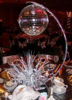 New Music Theme Party Decorations Disco Ball Ideas Disco Theme Parties, Disco Party Decorations, Disco Birthday Party, Music Themed Parties, 70s Party, Retro Party, Party Themes, Ideas Party, 50th Birthday
