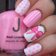 girly pink and white mix & match mani!
