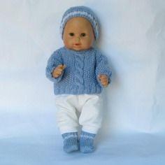 Vetements poupee, poupon 36 cm, pull, bonnet, pantalon, chaussons bleus