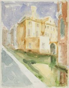 Original Landscape Painting by Dumitru Bostan Junior Watercolor Paintings, Original Paintings, Original Art, Watercolor Paper, Watercolors, Venice Painting, Yellow Houses, Impressionism Art, Romania