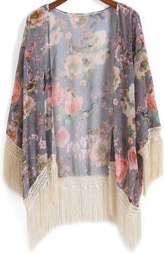 Grey Floral Bird Print Tassel Chiffon Kimono