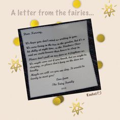 "A letter from the fairies... from Rachel ("",)"