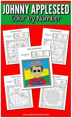 Johnny Appleseed Color by Number. Six pages of color by number worksheets for kids #freeprintables #applestudy #preschool || Gift of Curiosity