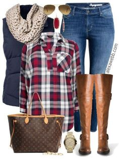 This plus size plaid shirt is oversized and long, which makes it perfect to wear over jeggings! Stay looking up-to-date with wide calf over-the-knee boots. Top with a warm down vest and chunky scarf. Plus Size Plaid Shirt Outfit Curvy Fashion, Look Fashion, Autumn Fashion, Cheap Fashion, Fashion Clothes, Fall Fashion Women, Womens Fashion Outfits, Outfits For Women, Latest Fashion