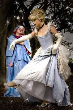 Cinderella and her Fairy Godmother cosplay.