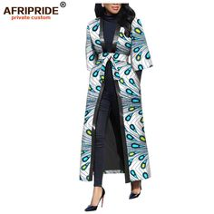 2019 new arrival african wax casual coat for women AFRIPRIDE three quarter sleeve ankle length women coat with sashes African Wear, African Dress, Casual Coats For Women, Afrocentric Clothing, African Fashion Dresses, Knee Length Dresses, Outerwear Women, Latest Fashion Trends, Quarter Sleeve
