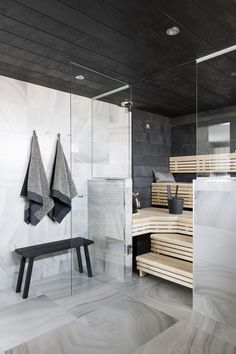 Modern House - Marble Tile - Sauna Design - Steam Room - Home Spa Scandinavian Bathroom, Scandinavian Modern, Saunas, Bad Inspiration, Bathroom Inspiration, Bathroom Spa, Bathroom Interior, Bathroom Ideas, Modern Bathroom