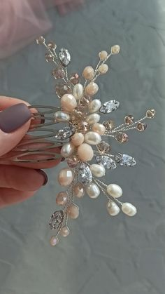 Bridal gold hair comb with freshwater pearl, pale peach and beige beads and cubic zirconia crystals, Wedding hair piece, Wedding headpiece Wire Jewelry Designs, Handmade Wire Jewelry, Jewelry Crafts, Earrings Handmade, Beaded Jewelry, Headpiece Jewelry, Hair Jewelry, Bridal Jewelry, Diy Hair Accessories