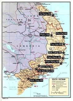 Map of major U. Air Force Bases in South Vietnam during the Vietnam War - 1965 - .my dad was at Phu Cat. Vietnam Map, Vietnam History, Vietnam War Photos, North Vietnam, Vietnam Veterans, Danang Vietnam, American War, American History, Indochine