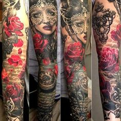 women full sleeve tattoo. Red and black work so well together in this
