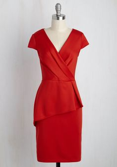 Exalted Executive Dress. By strutting through the office in this red sheath dress, your professional savvy wont be the only thing earning you praise! #red #modcloth