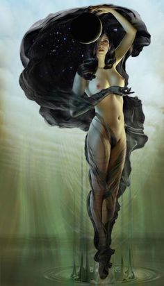 Goddess Power. I love this dark goddess figure, and the background makes me think of a swamp.