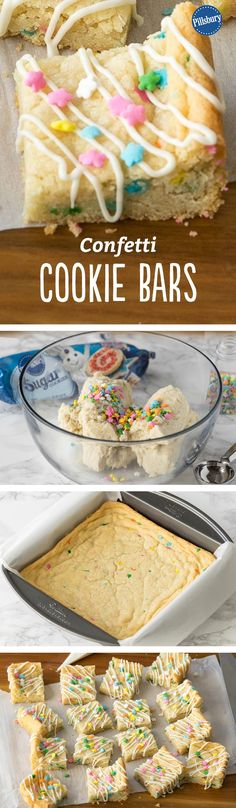 Confetti Cookie Bars - With just 3 ingredients and only 5 minutes of prep, you can make these adorable sugar cookie bars, perfect for celebrations or a simple dessert in spring. (cake making 3 ingredients) Köstliche Desserts, Delicious Desserts, Dessert Recipes, Yummy Food, Bar Recipes, Yummy Recipes, Oreo Bars, Fudge, Baking Recipes