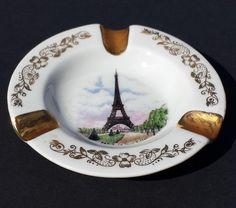 "#Limoges ashtray Pairs Eiffel Towel ORIGINAL (4"" in diameter) gold paint visit our ebay store at  http://stores.ebay.com/esquirestore"