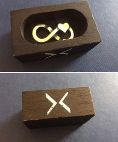 """X by Trollbeads link laying in """"coffin """" wooden box ! I love this box more than the link themselves lol 😂 💕"""