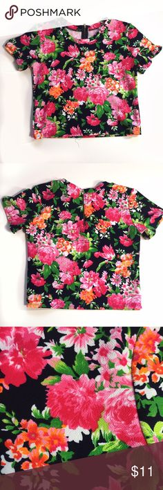 Gracie Floral Crop Top -Size: small -Exposed half zipper at back neckline  -Gently worn, no rips or stains  -Smoke free household Tops Crop Tops
