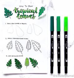 How to draw tropical leaves! How to draw tropical leaves! Bullet Journal 2019, Bullet Journal Ideas Pages, Bullet Journal Inspiration, Palm Tree Leaves, Tropical Leaves, Hello December Tumblr, Hallo Winter, Leaves Doodle, Tree Wallpaper Iphone