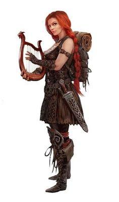 Female Bard Skald - Pathfinder PFRPG DND D&D d20 fantasy