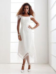 Plus Size Wedding Dress Sheath/ Column Off-the-shoulder Ankle-length Easebuy! Free Measurement!