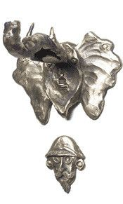 Rosalie Sherman Door-Knocker Elephant Eudora and Hunter, Artistic Decorative Designer Pewter Cabinet Hardware