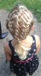 feather braid into two french braids