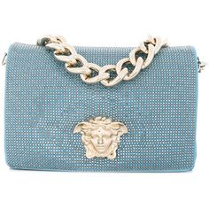 Versace Sultan bag ($2,935) ❤ liked on Polyvore featuring bags, handbags, shoulder bags, blue, versace shoulder bag, leather shoulder bag, blue purse, blue shoulder bag and versace handbags