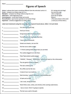 Printables Figurative Language Worksheets For Middle School figurative language similes and metaphors the two this is a 21 question worksheetquiz in which students must identify each statement as following simile me
