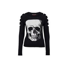 Jawbreaker Women's Big Skull Sweater With Upper Arm Slits ($44) ❤ liked on Polyvore featuring tops, sweaters, skull, skull sweater, skull print sweater, skull top, slit sweater and slit top
