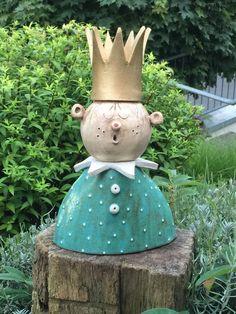 wunderschöne Büste aus Ton für Haus oder Garten, H 30cm, B 17cm, Farbe: türkis