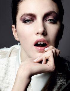 Vogue Japan - February 2014 - Liz Collins - 2014.  Makeup by Lisa Eldridge http://www.lisaeldridge.com/gallery/editorial/ #Makeup #Beauty #Fashion