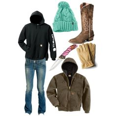 """""""Checking calves at 20 below"""" featuring Carhartt, The North Face, Ariat and GUESS Country Style Outfits, Southern Outfits, Country Wear, Country Girl Style, Cute N Country, Country Fashion, My Style, Country Life, Country Girl Clothes"""