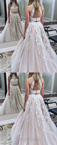 Two Piece Prom Dresses, Champagne Prom Dresses, Long Prom Dresses, Modest Prom Dresses, A-line Prom Dresses Halter, Tulle Prom Dresses Beading #twopiece #longpromdresses
