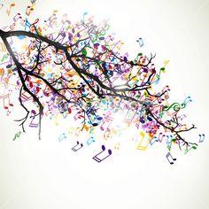 illustration vectorielle d'une branche abstraite avec des notes de musique colorées